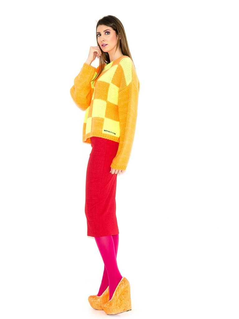 SQUARES YELLOW PULLOVER