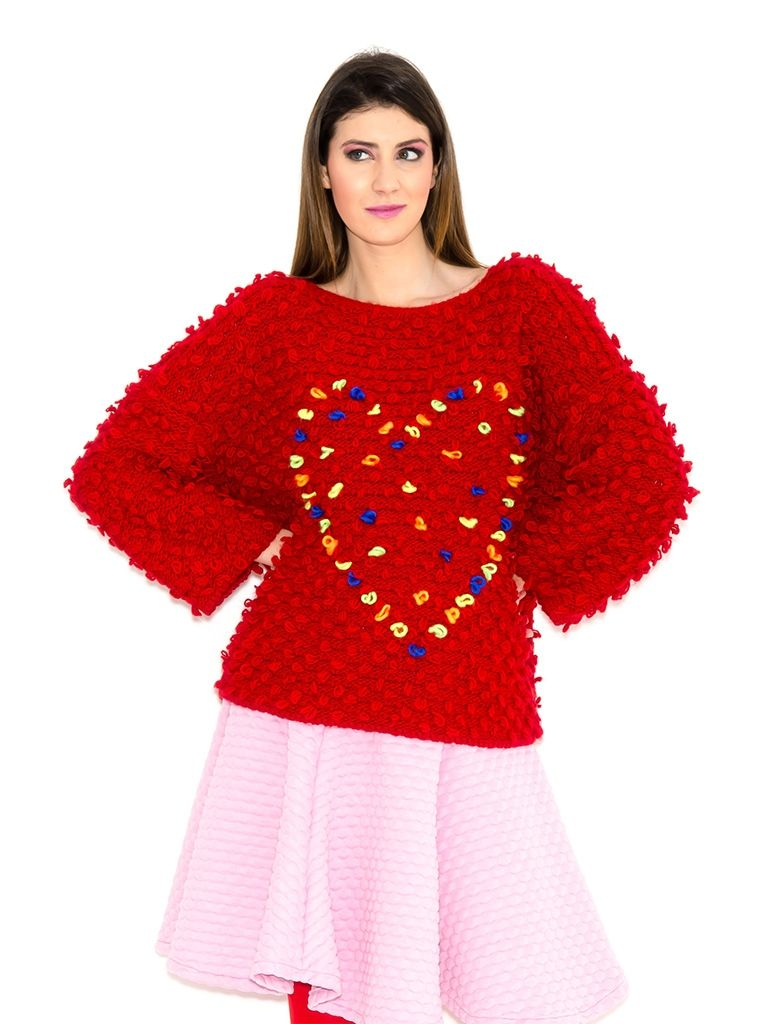 HEART RED PULLOVER