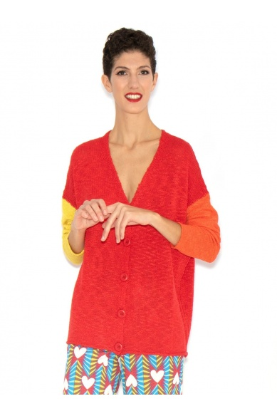 RED JACKET WITH BICOLOURED SLEEVES