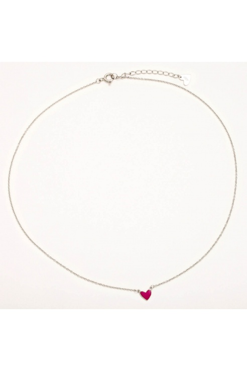 COLLAR CORAZON FUCSIA