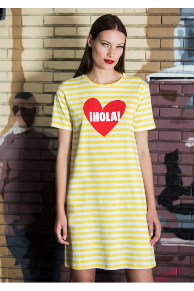 HELLO YELLOW-STRIPED DRESS