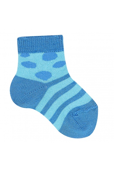SHORT DOTTY AND STRIPED SOCKS IN BLUE